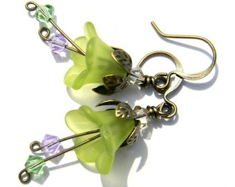 Tinkerbell Fairy Earrings  Chartreuse Green & Lavender Purple Swarovski Crystals  Antique Brass  Frosted Flower  Beaded Jewelry  Victorian