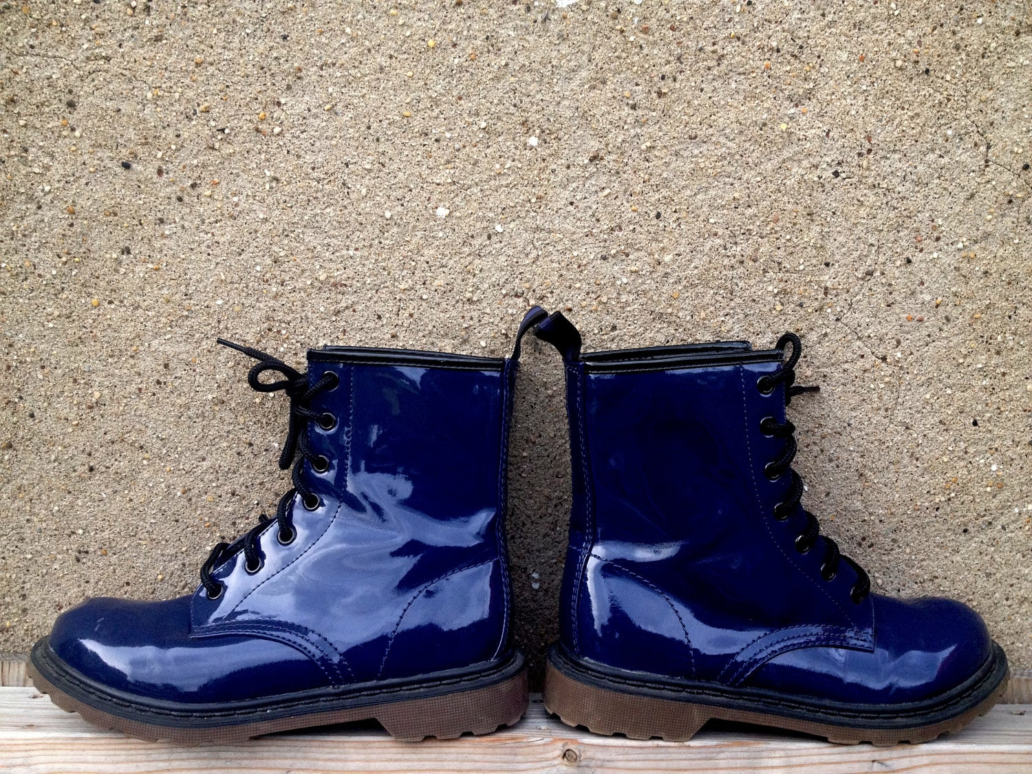 Grunge Dark Blue Patent Leather Combat Boots by SomeVelvetVintage