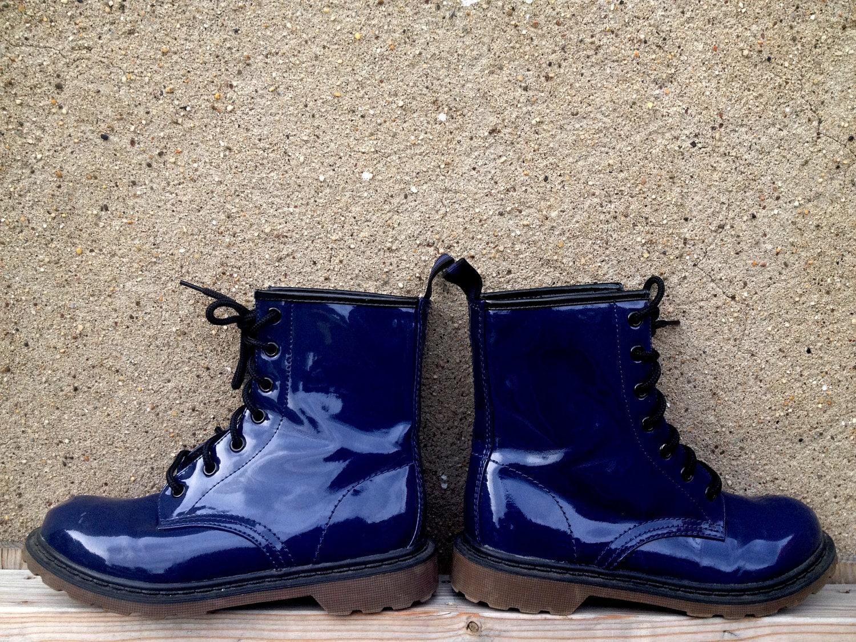 Grunge Dark Blue Patent Leather Combat Boots Grunge 7