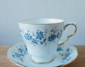 Colclough Braganza Tea Cup and Saucer Blue Floral Design
