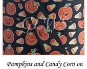 "3 yards 7/8"" Glittery Pumpkins and Candy Corn Ribbon"