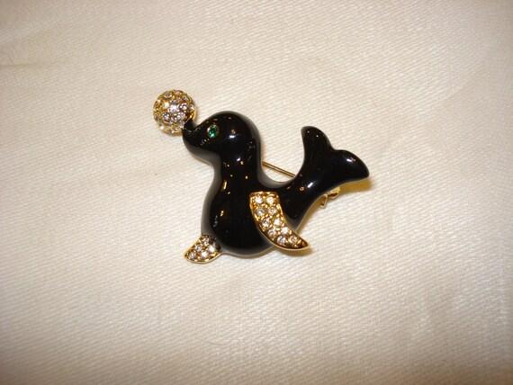 Vintage Black Enamel Gold Seal w Rhinestones Brooch Costume Jewelry 1990s