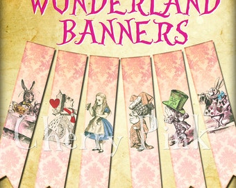 ALICE in WONDERLAND BANNER party decoration, digital printable banner style bunting download for scrapbooking, party printables
