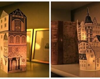 Set of 4 PAPER LANTERNS, hand cut originally hand drawn  - : 2 Stockholm, 2 Gothic Building