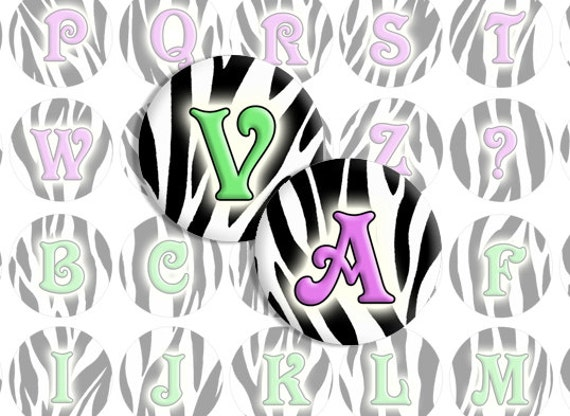 Zebra Print Alphabet Letters / Bottlecap Images / Green and by ...