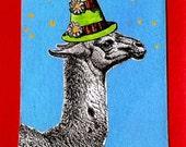 Blank greeting card: Party Llama