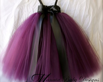 Eggplant Tutu Dress/ Plum Tutu Dress / Plum Flower Girl Tutu Dress/ Eggplant Flower Girl Dress