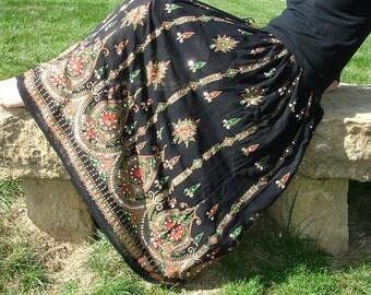 Gypsy Skirt: Black Maxi Skirt, Festival Clothing, Long Indian Skirt, Boho Sequined Skirt, Bohemian Clothing, Bollywood Belly Dance Skirt