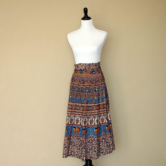 Wrap Skirt: Sarong, Indian Skirt, Long Bohemian Boho Maxi Dress Elephant Cotton Sequin Cover Up