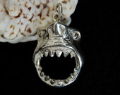 Great White Shark Head charm or pendant in Silver