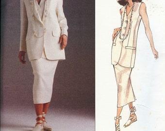 UNCUT Vogue American Designer Donna Karan New York Pattern 1165 Misses Jacket, Vest & Skirt 6-10