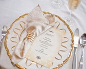Printable Wedding Menu -- Pink Champagne and Flowers, Blush and Gold, Floral, Roses, Peonies, Ballet
