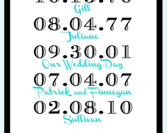 Subway Art Family Names and Dates Printable Custom Personalized Gift