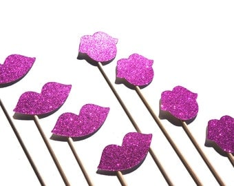 Photo Booth Prop Set - Luscious Glitter Lips On a Stick - Hot  - 8 piece set - Hot Pink - Glitter and Shine Collection - Photobooth Props