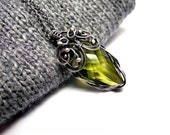 Wire wrapped silver necklace, poison ivy green olive, swarovski crystal marquise arrow shape, romantic luxury unique