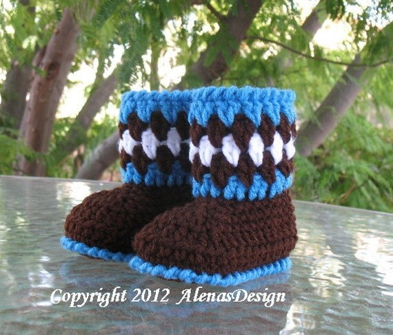 Crochet Pattern 054 -  Baby Booties Brown Baby Boy Baby Girl Winter Booties Slippers Boots Ear Flap Hat Bear Ears Mittens