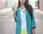Turquoise Teal Boxy Pocket Blazer - Gemma - BadJamesVintage