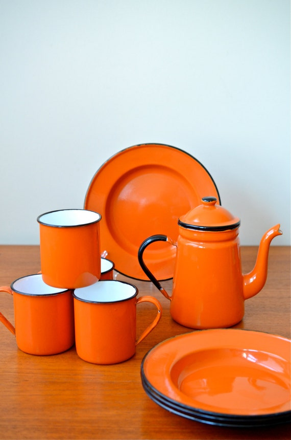 Items Similar To Vintage Set Of Japanese Orange Enamelware