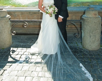 """French Alencon LACE Edge Cathedral Veil - 108"""" x 108"""" Gorgeous Full Extra Length"""