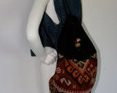 Vintage '70s Guatemalan Knit and Velvet Backpack W/ Drawstring Closure