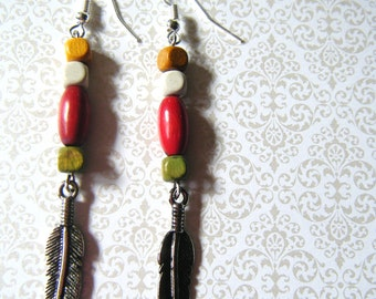 Vintage Bead Earrings with Feather Charms
