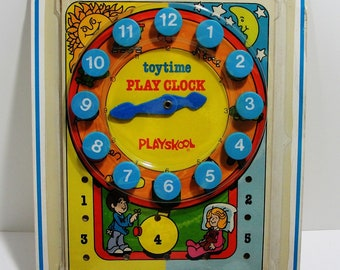 Playskool Play Clock 1976 Number 716 Original Box Vintage Toy Free Domestic Shipping