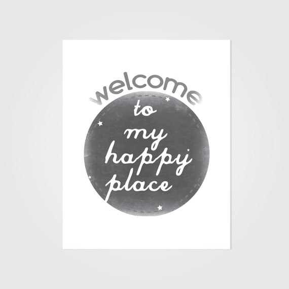 Items similar to my happy place welcome print minimalist for Minimalist gifts for housewarming