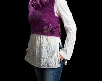 "Cropped sweater vest bodice handmade mohair, alpaca felted flowers, size Small/Medium, ""Purple Frenzy"""