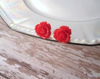 Red rosette earrings - red roses on titanium studs - NICKEL FREE for sensitive ears