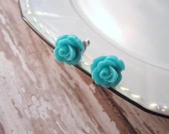Turquoise rosette earrings - bright turquoise green roses on titanium studs - NICKEL FREE for sensitive ears
