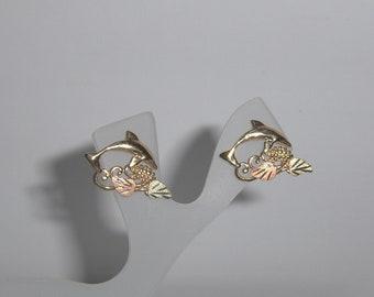 Whitaker's Black Hills Gold Dolphin Post Earrings