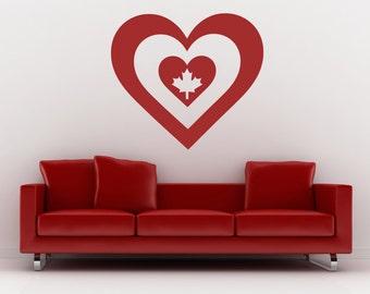 Canada Art, Canadian Flag, Canadian Maple Leaf, Heart Decal, Vinyl Sticker, Wall Decor, Wall Decal, Vinyl Decal, Office, Bedroom, Home Decor