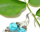 Blue Crackle Glass & Pewter Fantasy/Wedding Earrings Sterling Silver Ear- wires With Free Shipping