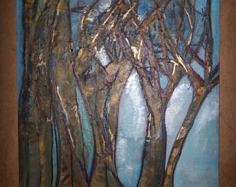 Original Tree Harvest Home Landscape  Blue Brown Painting Mixed Media Acrylic Canvas Art  14x18 -Sherischart