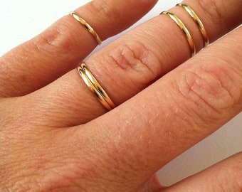 5 Above the Knuckle Rings- Gold, Rose Gold, or Sterling Silver Midi Rings, Stacking Ring Set