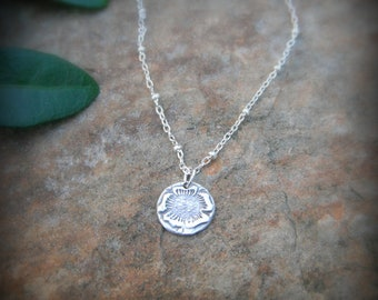 Tiny Flower Necklace- Handcrafted with Recycled Fine Silver