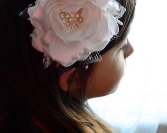 Headband - Pure White Flowergirl Headband - Hard Headband, Wire Headband, Flowergirl, Bridesmaid, Baptism, Special Occasion