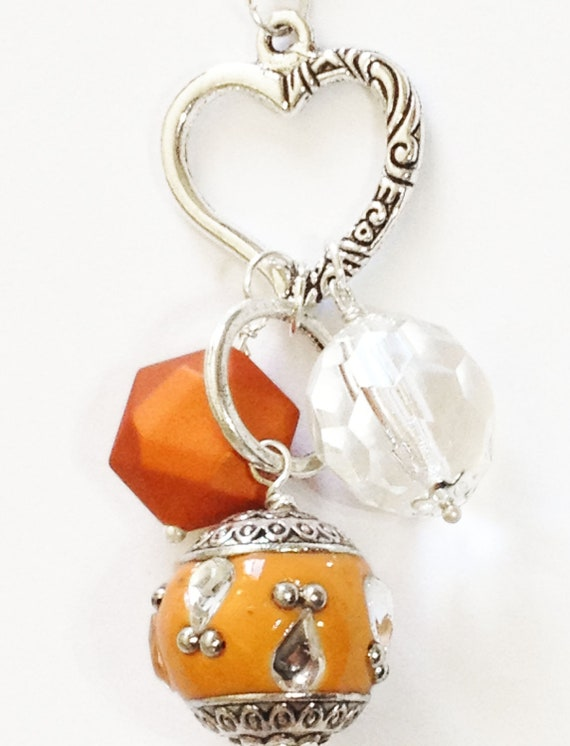 Fall Charm Necklace - Orange Heart Bauble