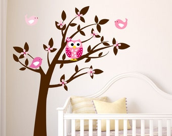 Owl Wall Decal -  Tree Vinyl Wall Decals - Childrens Wall Art  - Owl Decor