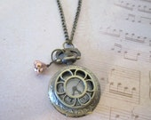Pocket Watch Necklace/Pendant - Steampunk Vintage Style - 636designs