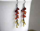 Crystal Cluster Earrings - Swarovski Crystals - Ombre Red Earrings