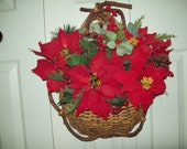 Christmas Holiday Natural Rattan Hanging Basket with Red Poinsettias
