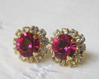 Hot Pink Swarovski crystal post earrings, Gold post earrings, Crystal earrings, Swarovski stud earrings, Bridal earrings, Bridesmaid gift
