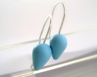 Sky blue drop earrings, polymer clay, Sterling silver earwires, small earrings, minimal modern jewelry