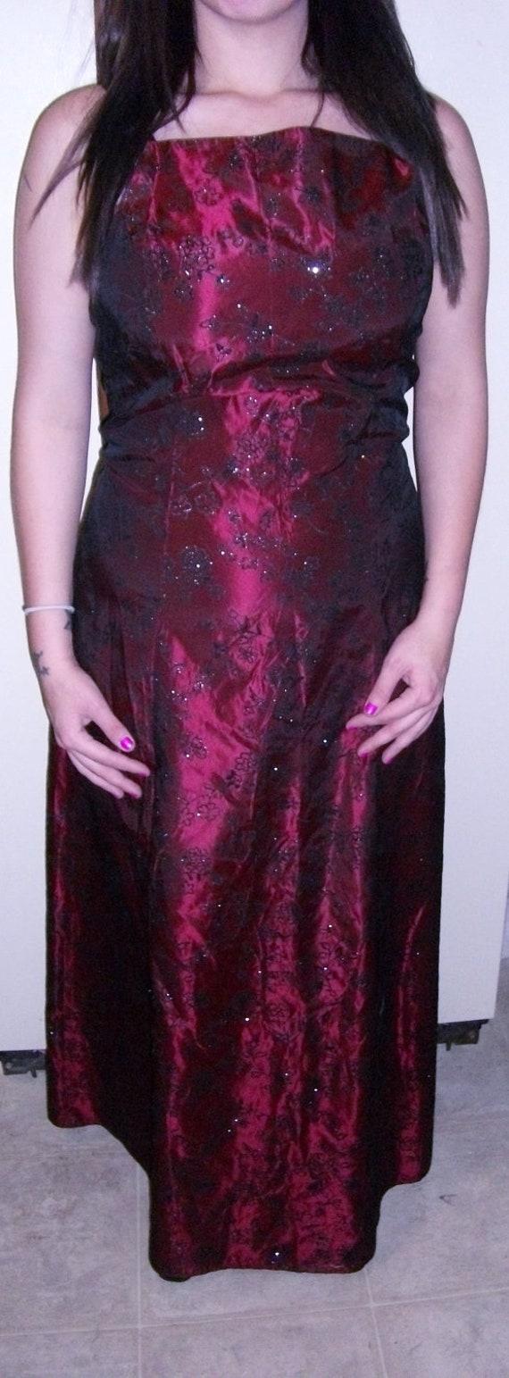 Vintage Bridesmaid or Mother of Bride Dress Black Velvet Flocked Burgundy Satin Large Only 15 USD