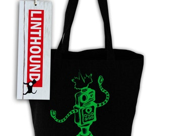 Robot Black Canvas Grocery Tote Bag