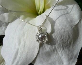 Birds Nest Necklace & Chain - Argentium Sterling Silver Pendant