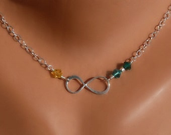 Mother of the Bride Gift - Birthstones Infinity Necklaces - Personalized Gift - Sterling Silver - Made to Order
