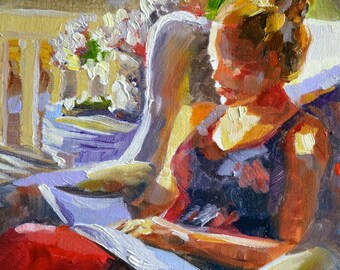 Reading from Festive France-art print of original painting, woman seated on wicker chair