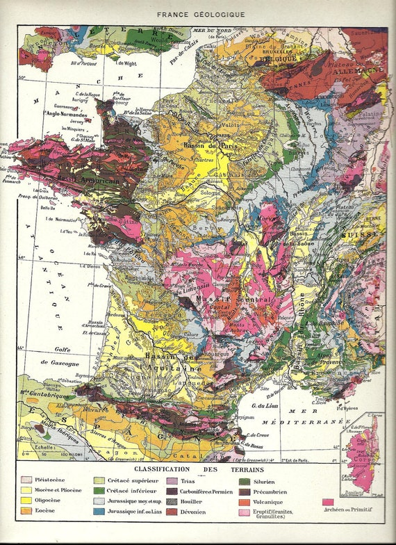 Vintage geological map of france poster french dictionary for Geology dictionary